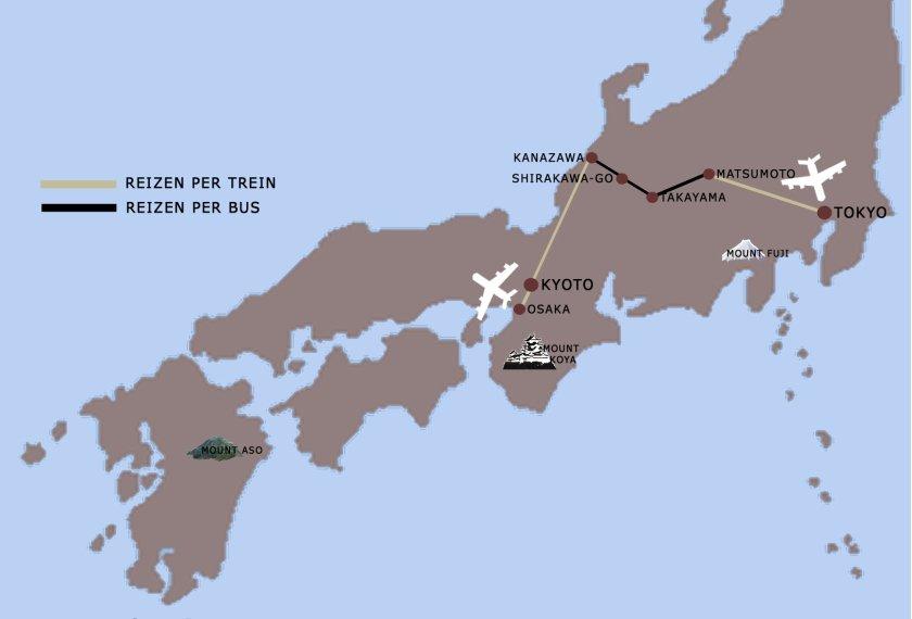 reis cultureel Japan kaart iki Travels
