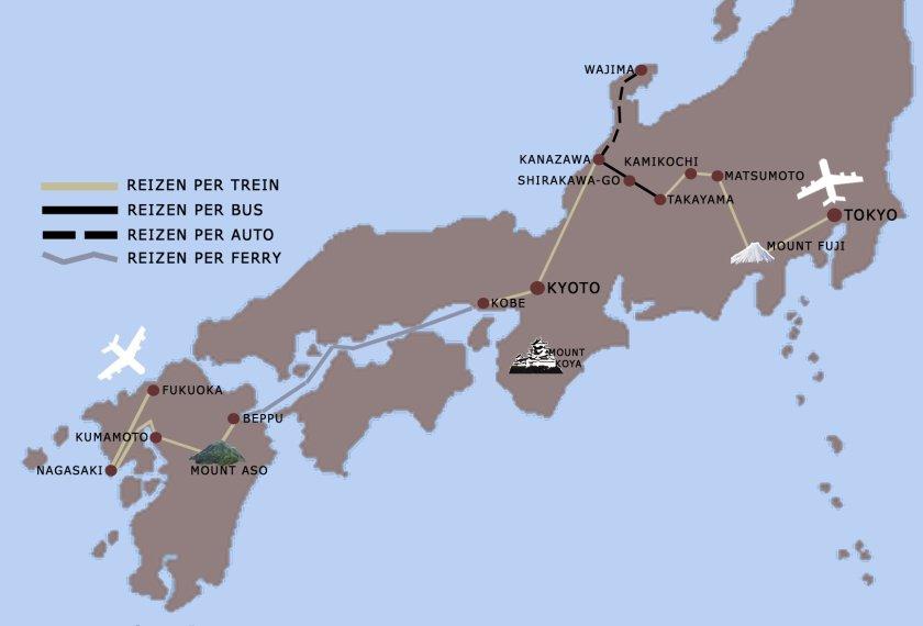 Compleet Japan reis kaart iki Travels