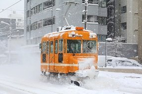 Japan Hokkaido sneeuwtram