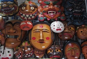 Zuid Korea, Hahoe Village, Maskers