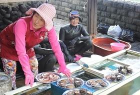 Zuid Korea, Jeju, Haenyeo Duiksters