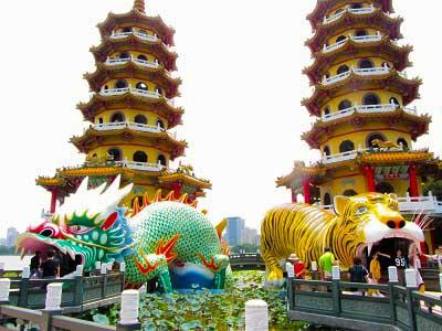 Draak En Tijger Ingang Tempel Taiwan