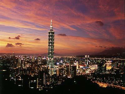Taipei 101 Avond Skyline